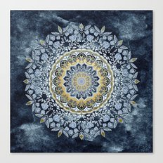 Blue Floral Mandala Canvas Print
