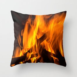 Wood fire Throw Pillow