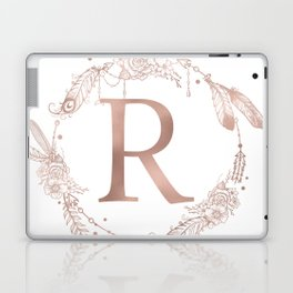 Letter R Rose Gold Pink Initial Monogram Laptop & iPad Skin