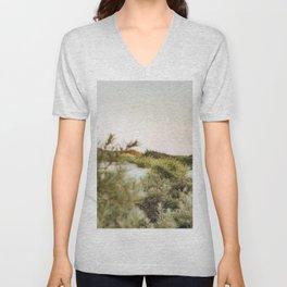 Moonlight in the dunes | Calm natural fine art print | Netherlands Unisex V-Neck
