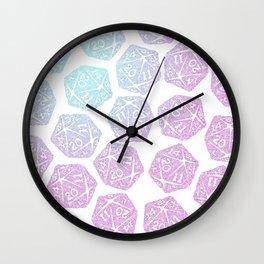 d20 pattern dice gradient pastel Wall Clock