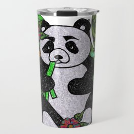 Glitter Panda with flowers and leaves Travel Mug