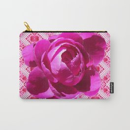 FUCHSIA  PINK PEONY PATTERNED ART Carry-All Pouch