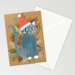 Blue Cat cute christmas xmas tree holiday funny cat art cat lady gift unique pet gifts Stationery Cards