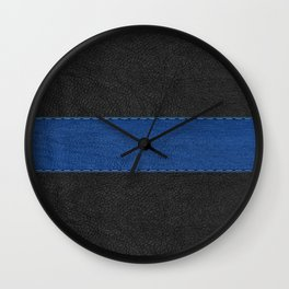 Black and blue vintage faux leather Wall Clock