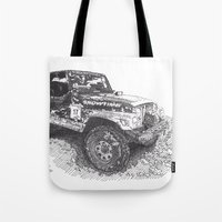 jeep Tote Bags featuring Jeep by Rik Reimert