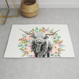 Cutest Highland Cow With Flowers Rug