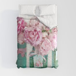 Romantic Shabby Chic Cottage Pink Aqua Watercolor Peonies Print Home Decor Comforters
