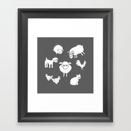 The Little Farm Animals, white on spotted grey Framed Art Print