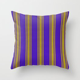 Yellow lines on a blue background Throw Pillow