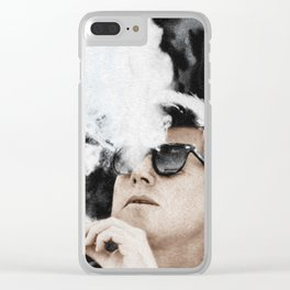 Cigar Smoker Cigar Lover JFK Gifts Clear iPhone Case