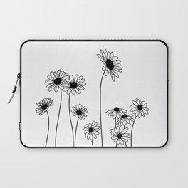Minimal line drawing of daisy flowers Laptop Sleeve