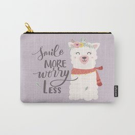 Smile More Worry Less, Cute Baby Alpaca Advice Carry-All Pouch