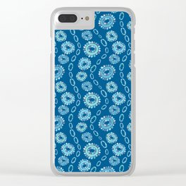 Wavy Toothy Flowers > Blue Clear iPhone Case