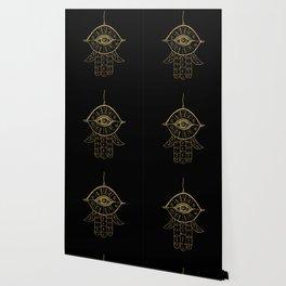 Hamsa Hand Gold on Black #1 #drawing #decor #art #society6 Wallpaper