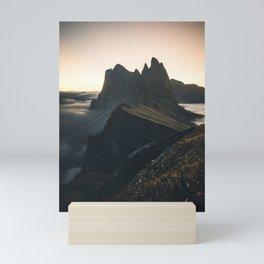 amazing Sunrise at Seceda in the Dolomites Mini Art Print