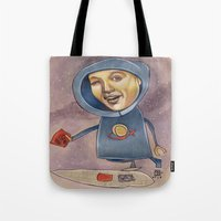 spaceship Tote Bags featuring SPACESHIP by busymockingbird