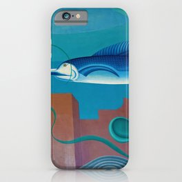Florida Marlin, Swordfish, Coral Reef & Ruins landscape painting by Hilaire Hiler iPhone Case