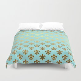 Royal gold ornaments on aqua turquoise background Duvet Cover