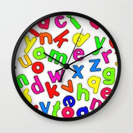 Jumbled up Multi Coloured Letters Wall Clock