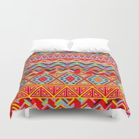 india Duvet Covers featuring India Style Pattern (Multicolor) by Diego Tirigall