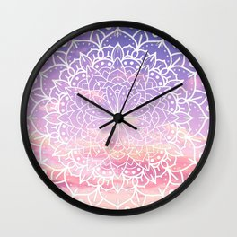 WHITE SUNSET MANDALA Wall Clock