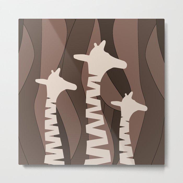 Abstract Giraffe Family Metal Print