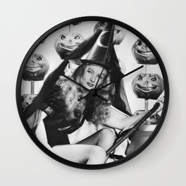 You Say Witch Like It's a Bad Thing, Veronica Lake inspirational, humorous quote black and white photograph Wall Clock