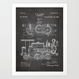 Steam Train Patent - Steam Locomotive Art - Black Chalkboard Art Print