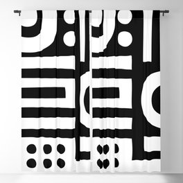 Mid Century Modern Abstract Composition 114 Black and White Blackout Curtain