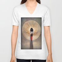 crane V-neck T-shirts featuring Crested Crane  by Pauline Fowler ( Polly470 )
