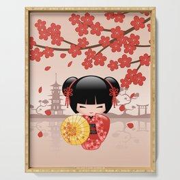 Japanese Red Sakura Kokeshi Doll Serving Tray