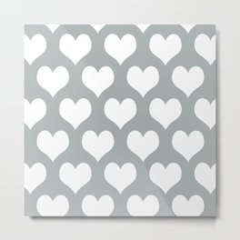 Hearts of Love Grey & White Metal Print