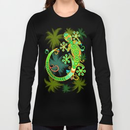 Gecko Lizard Colorful Tattoo Style Long Sleeve T-shirt