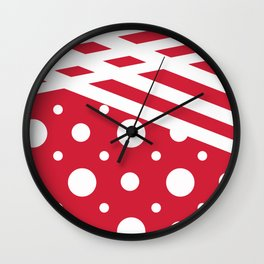 White dots on a red background. Wall Clock