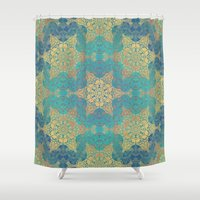 henna Shower Curtains featuring Blue Henna by Truly Juel