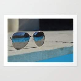 Reflection in the glasses Art Print