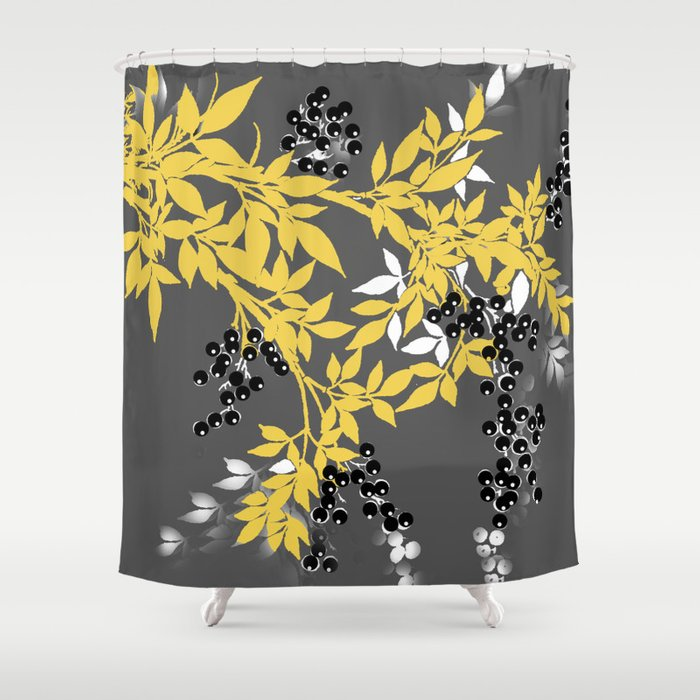 TREE BRANCHES YELLOW GRAY AND BLACK LEAVES BERRIES Shower Curtain By Saundramyles