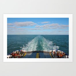 Ferry Boat Leaving Uk Land From Dover To Calais Art Print