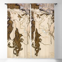 Salon des Cent poster (1896) by Alphonse Maria Mucha Blackout Curtain