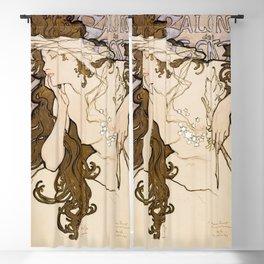 Salon des Cent poster (1896) by Alphonse Maria Mucha Blackout Curtain