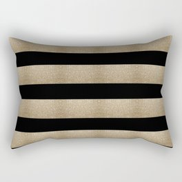 preppy contemporary minimalist great gatsby champagne black gold stripes Rectangular Pillow