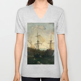 Vintage Pacific Ocean Coastal Sail Unisex V-Neck