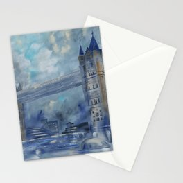 London bridge 110x160 cm Large impressionism acrylic painting on unstretched canvas S049 art by arti Stationery Cards