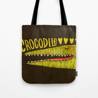 crocodile Tote Bags featuring Crocodile by Lime