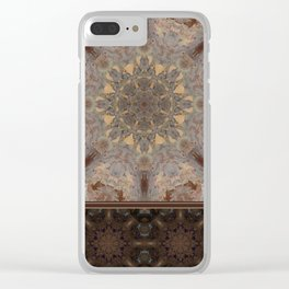 Copper Brown Terracotta Mandala and Tile Clear iPhone Case