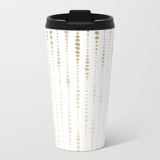 NYC Nights Gold Polka Dot Stripes Metal Travel Mug