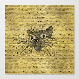 Black  Cat on Vintage gold pattern Canvas Print