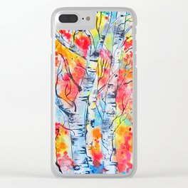 Flames of Autumn Clear iPhone Case