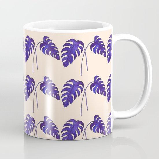 Indigo Monstera Leaf Watercolor on Blush Mug